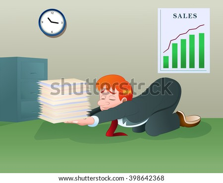 illustration of a businessman hold pile of files on his hands - stock photo