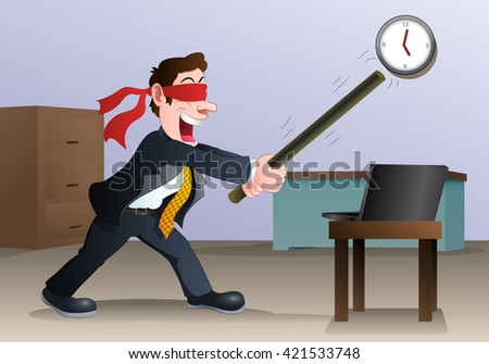 illustration of a businessman hold stick try to hit laptop in office - stock photo
