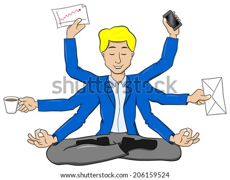 illustration of a businessman meditating in lotus position and does a lot of work at the same time - stock photo