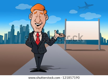 illustration of a businessman presentation  in front of city blank board you can write anything - stock photo