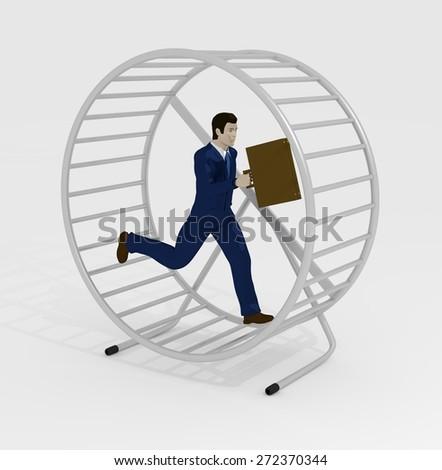 Illustration of a businessman running inside a hamster wheel - stock photo