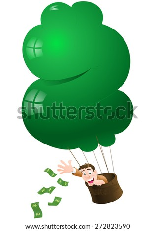 illustration of a businessman throwing moneys on isolated white background - stock photo