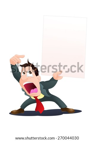 illustration of a businessman with blank banner you can add text in it - stock photo