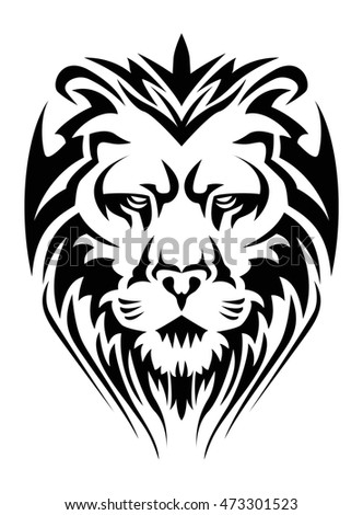 illustration of a  calm lion head tattoo in isolated white background