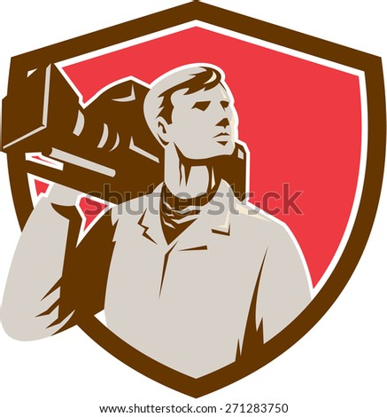 Illustration of a cameraman holding a vintage movie video camera on shoulder looking to the side set inside shield crest on isolated background done in retro style.