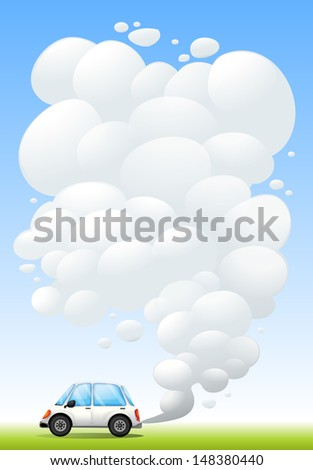 Illustration of a car releasing smoke - stock photo
