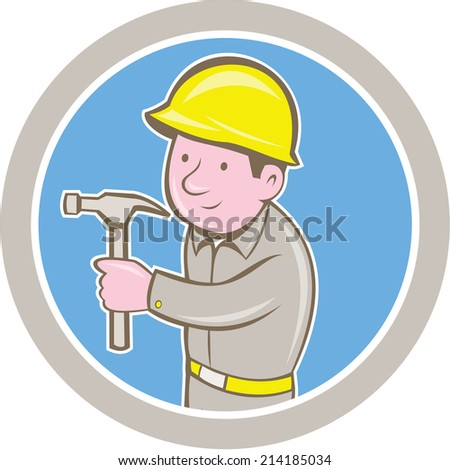 Illustration of a carpenter builder construction worker with hammer looking to side set inside circle on isolated background done in cartoon style. - stock photo