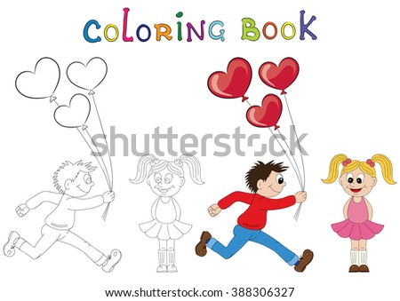 Illustration of a cartoon boy running with a bunch of flowers and cartoon girl with balloons. Coloring book. Valentine's Day