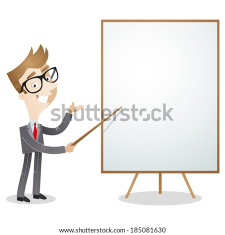 Illustration of a cartoon business man explaining and pointing at blank white board. - stock photo