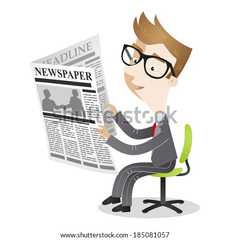 Illustration of a cartoon businessman sitting on his office chair reading the newspaper.