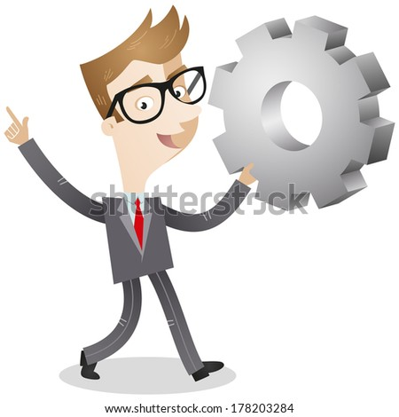 Illustration of a cartoon businessman walking and holding up a cog with an explaining gesture. - stock photo