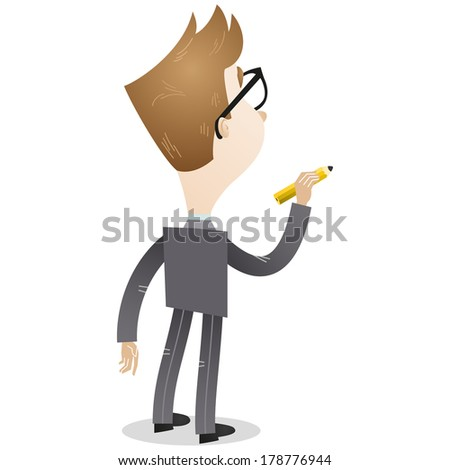 Illustration of a cartoon businessman with a pencil in his hand about to write something on a blank wall (back view). - stock photo