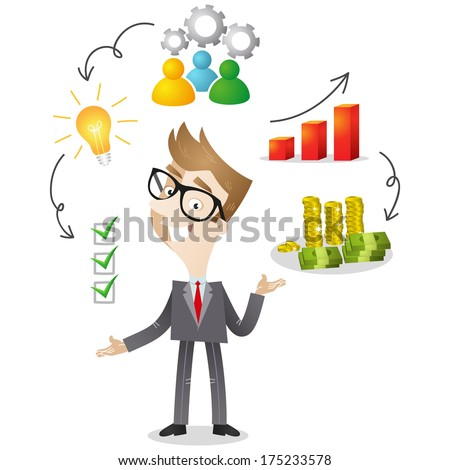 Illustration of a cartoon businessman with icons explaining successful business strategy (Vector version also available in my gallery). - stock photo