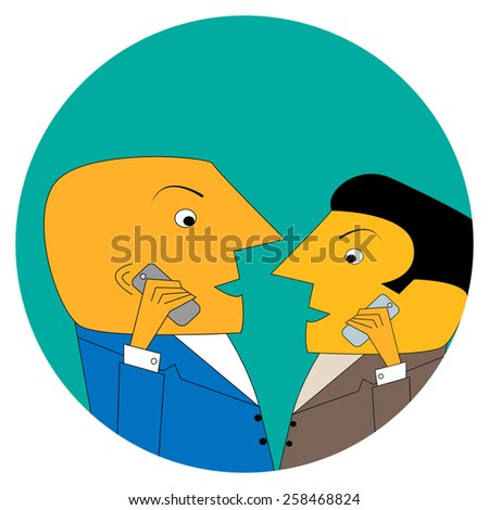Illustration of a cartoon businessmen with mobile phones. Businessman talking on his cellphone. - stock photo