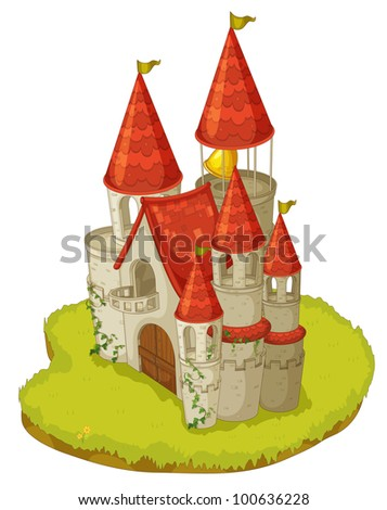 Illustration of a cartoon castle - EPS VECTOR format also available in my portfolio. - stock photo