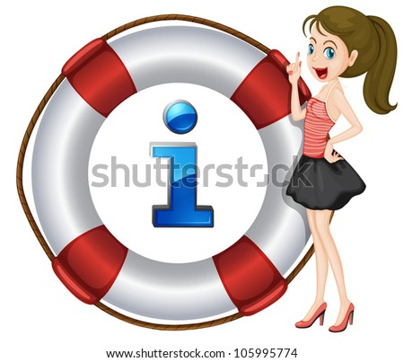 Illustration of a cartoon character and information icon - stock photo
