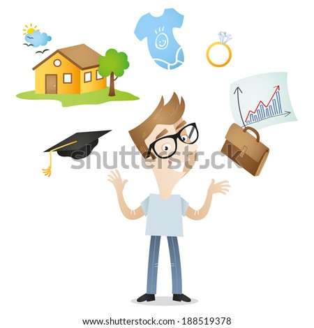 Illustration of a cartoon character: Young adult with future plans and opportunities, career, family, home icons. - stock photo
