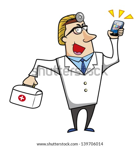 illustration of a cartoon doctor with a first aid kit medical bag and mobile cell phone.