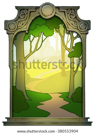 Illustration of a cartoon forest framed with a stone decorated hand drawn arch - stock photo