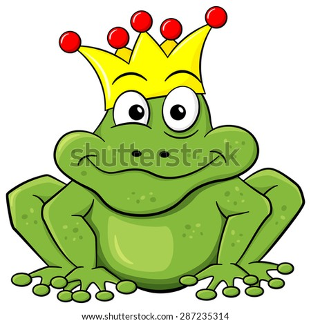 illustration of a cartoon frog prince waiting to be kissed - stock photo