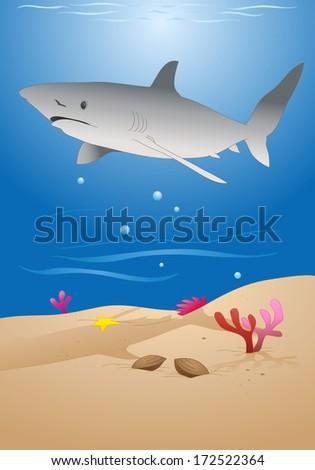 illustration of a cartoon grey reef shark on sea background - stock photo