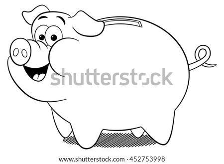 illustration of a cartoon piggy bank