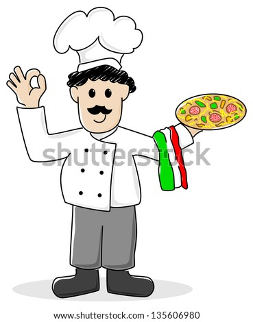 illustration of a cartoon pizza baker