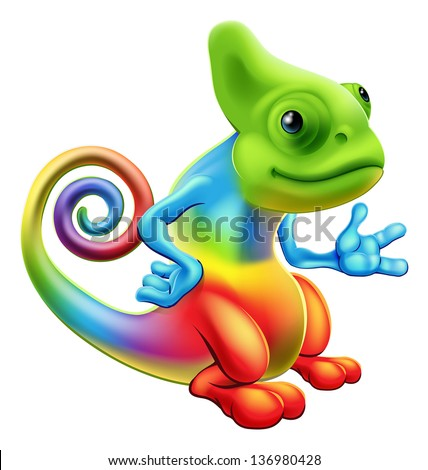 Illustration of a cartoon rainbow chameleon mascot standing with his hand out - stock photo