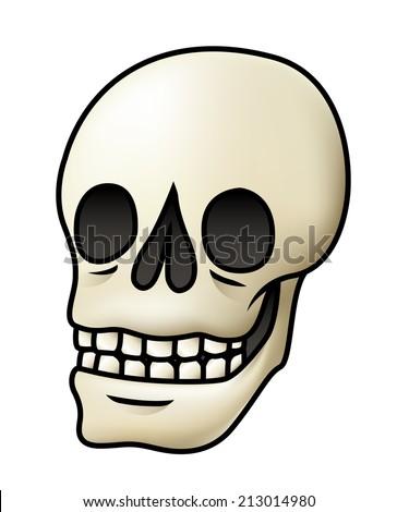 Illustration of a cartoon skull isolated on white. Raster. - stock photo