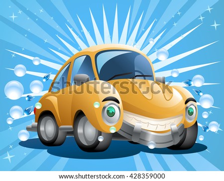 illustration of a cartoon yellow car wash with soap bubble on blue background - stock photo