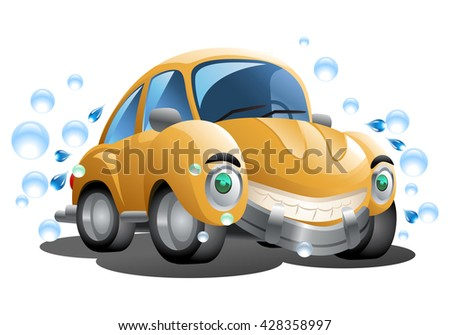 illustration of a cartoon yellow car wash with soap bubble on isolated white background