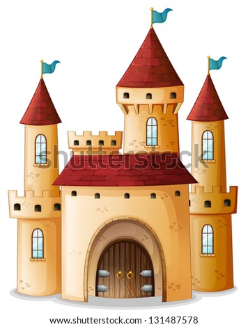 Illustration of a castle with three blue flags on a white background - stock photo