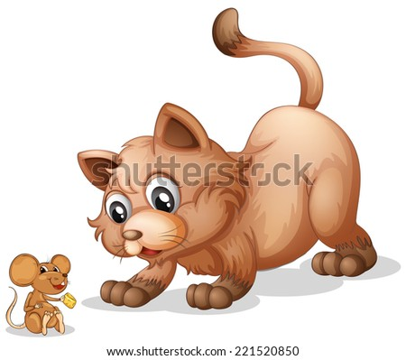 Illustration of a cat and a mouse - stock photo