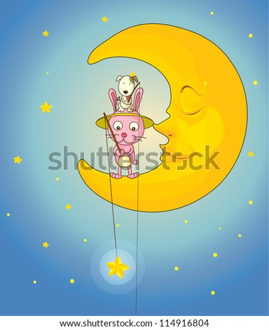 illustration of a cat, dog and moon in night sky - stock photo