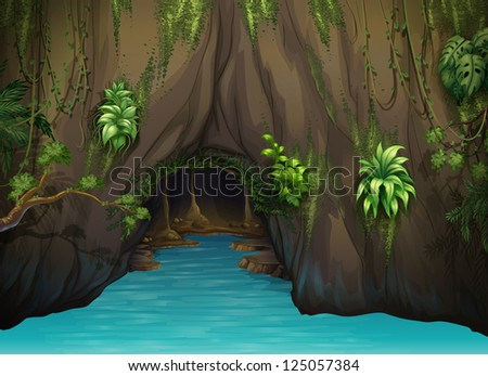 Illustration of a cave and water in a beautiful nature