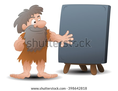 illustration of a cave man wearing leather cloth in front of blank stone sign - stock photo