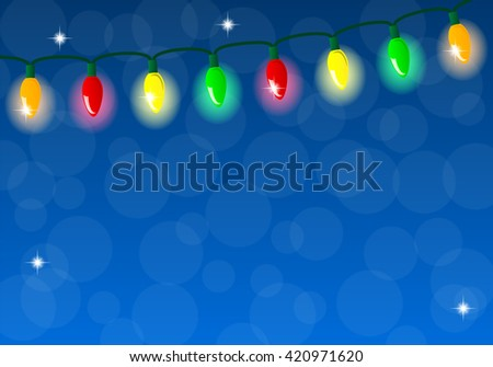 illustration of a chain of colorful lights - stock photo