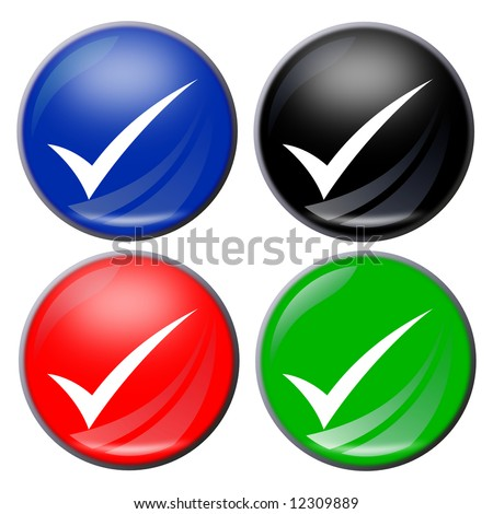 illustration of a check mark button in four colors - stock photo