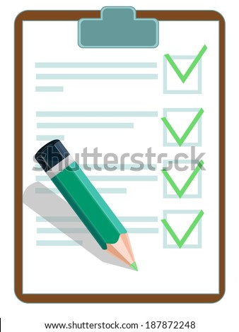 Illustration of a checklist with pencil - stock photo