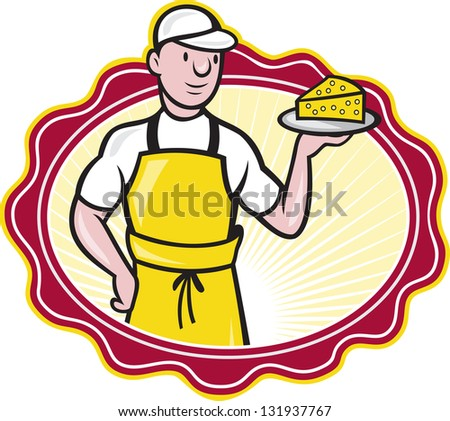 Illustration of a cheesemaker standing holding a plate with slice of cheese facing front on isolated background with oval shape.
