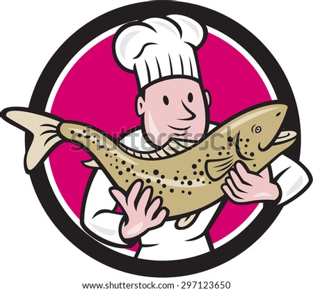 Illustration of a chef cook handling holding up a trout salmon fish facing front set inside circle done in cartoon style. - stock photo