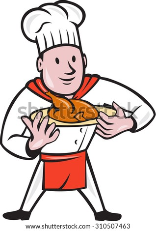 Illustration of a chef cook standing holding dish with roast chicken set on isolated white background done in cartoon style.