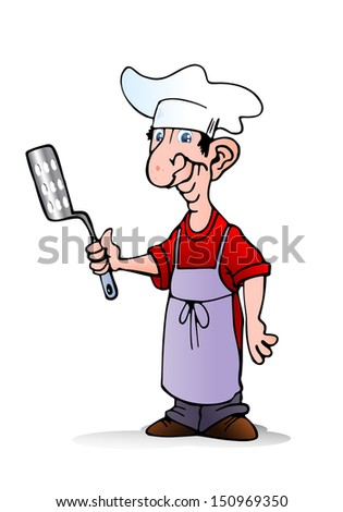 illustration of a chef hold spatula ready to cook on isolated white background - stock photo