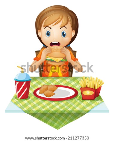 Illustration of a child eating at a fastfood restaurant on a white background - stock photo