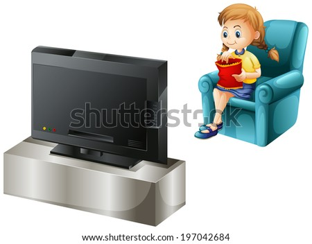 Illustration of a child watching TV on a white background - stock photo