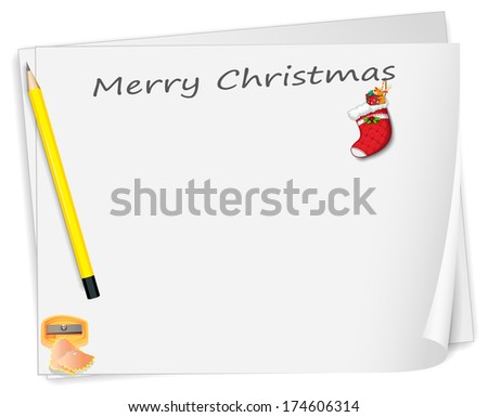 Illustration of a christmas card with a pencil, a sharpener and a sock on a white background - stock photo