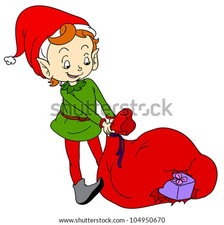 Illustration of a christmas elf - EPS VECTOR format also available in my portfolio. - stock photo