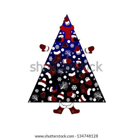 Illustration of a Christmas tree from the elements