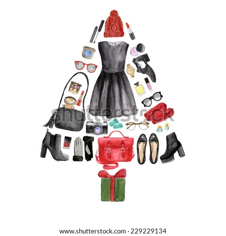 Illustration of a Christmas tree made from various female clothes and other items. Hand drawn watercolor illustration. - stock photo
