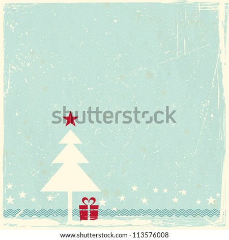 Illustration of a Christmas tree with red star topper on pale blue grunge background. Space for your copy. - stock photo